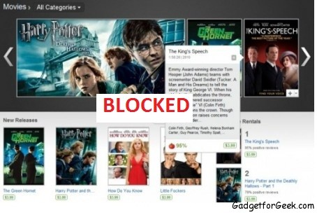 Google Blocked Movie Rental