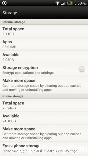 htc one x storage
