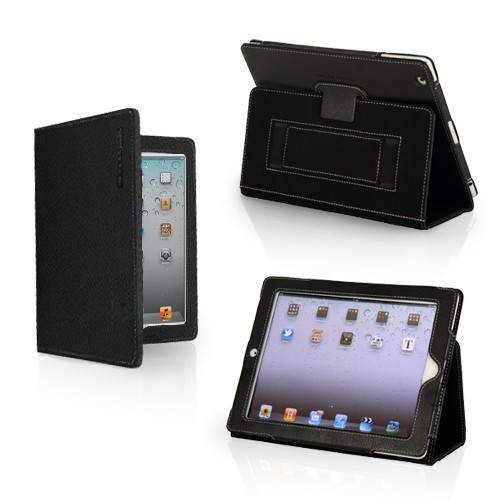 Case Cover and Flip Stand in Black Leather