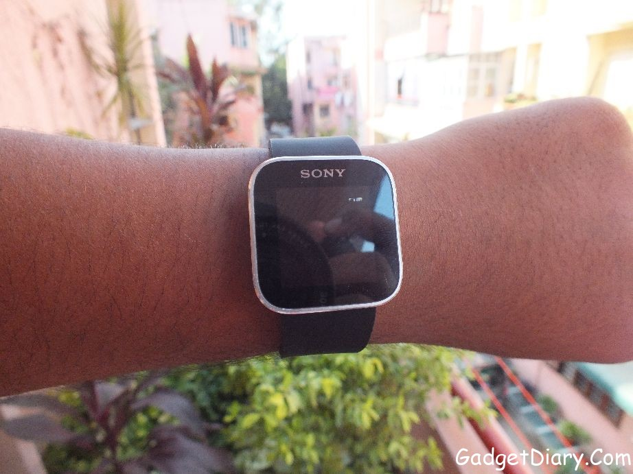 sony smartwatch on hand